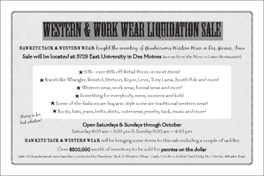 western and work wear liquidation sale. Black Bedroom Furniture Sets. Home Design Ideas